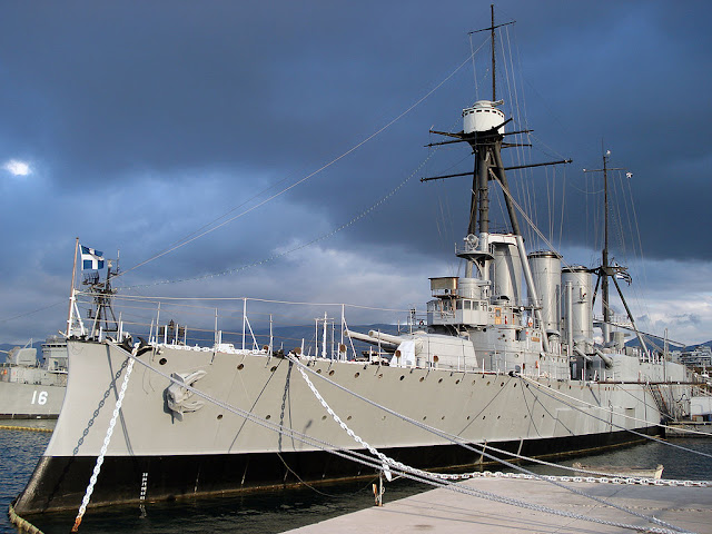 Greek cruiser Georgios Averof as a floating museum in Faliron Bay, Athens