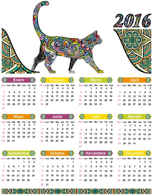 Calendario 2016 de gato estilo étnico