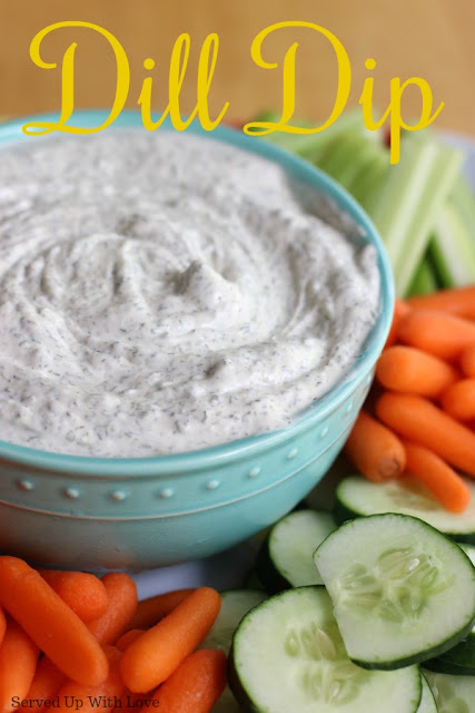 creamy garden dill dip on platter with vegetables