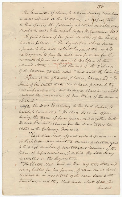 The Journal of the Federal Convention records the formal proposal to create the Electoral College. U.S. National Archives