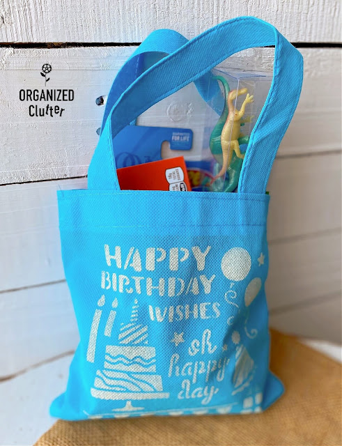 Photo of a stenciled child's party treat bag