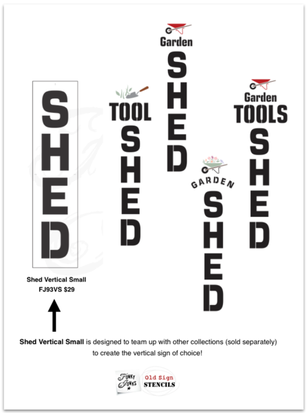 Photo ideas for stencil variations of a garden tools stencil