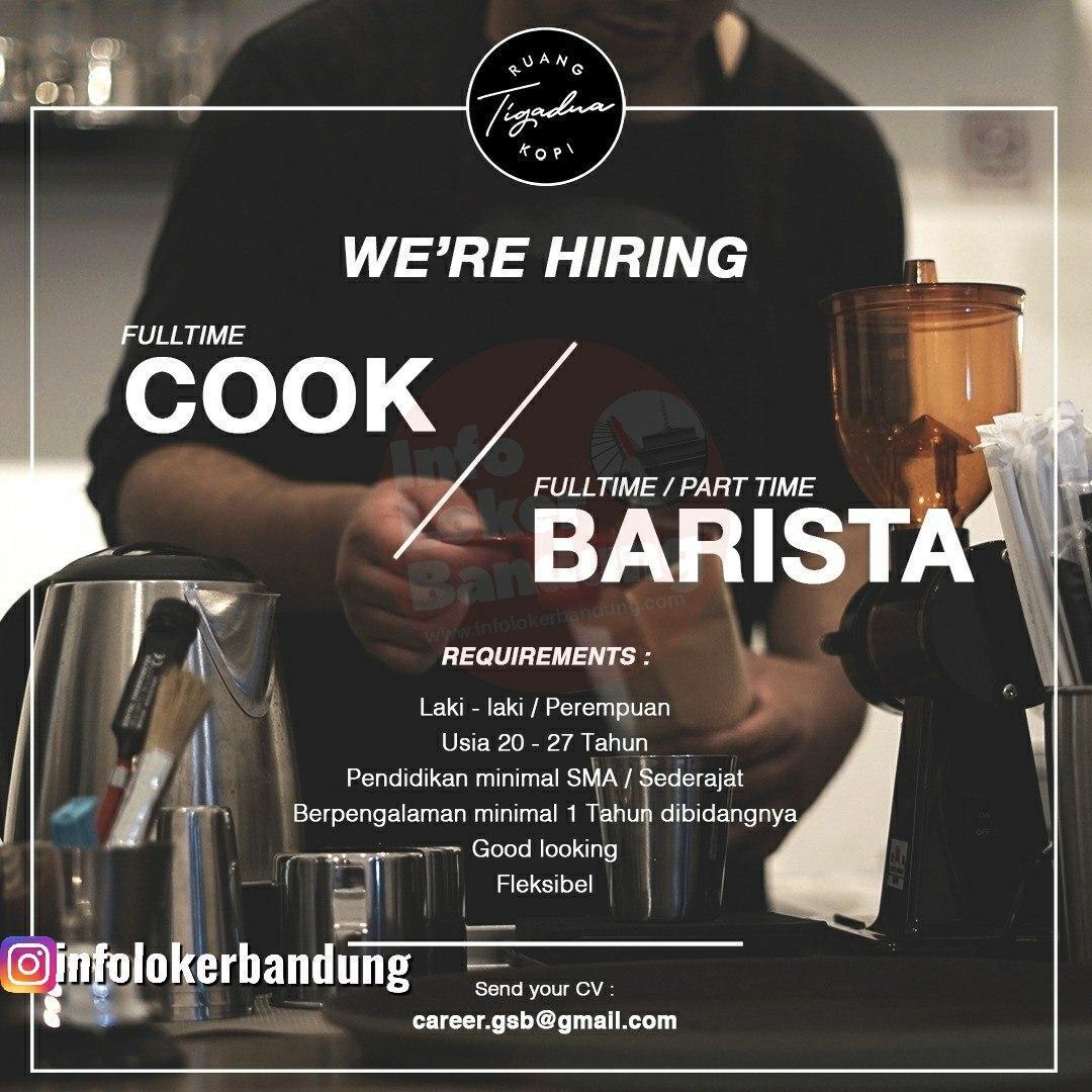 Lowongan Kerja Cook & Barista Ruang Kopi Tigadua Bandung Maret 2020