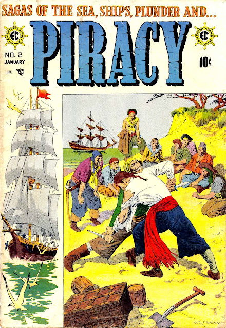 Piracy v1 #2 ec comic book cover art by Reed Crandall