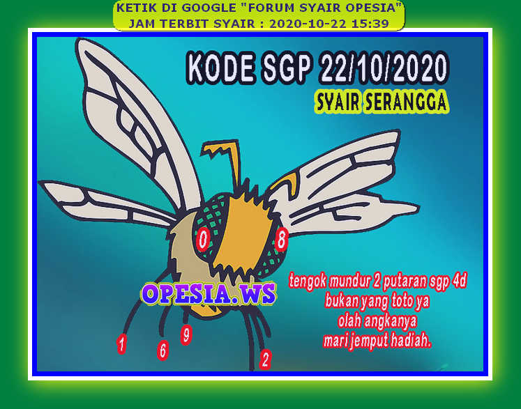 Kode syair Singapore Kamis 22 Oktober 2020 64