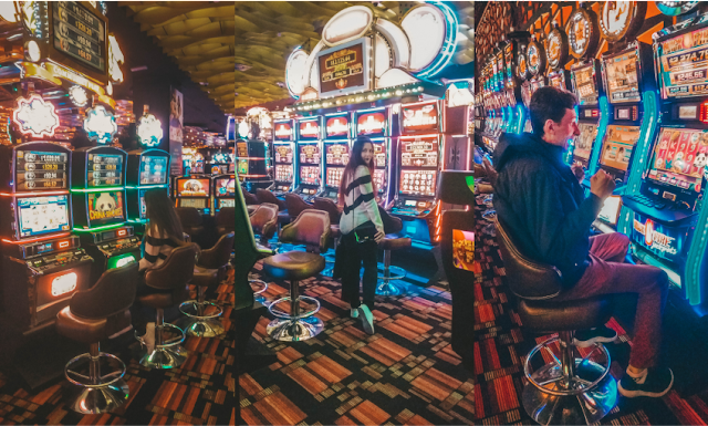 Fotos coloridas das máquinas de um cassino