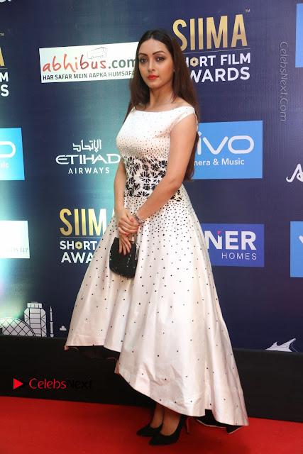 Actress Pooja Salvi Stills in White Dress at SIIMA Short Film Awards 2017  0012