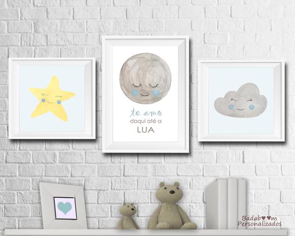 kit, arte, digital, artes, poster, posteres, posters, print, quadro, quadros, quadrinhos, infantil, decoração, quarto, céu, baby, bebê, lua, estrela, nuvem, aquarela