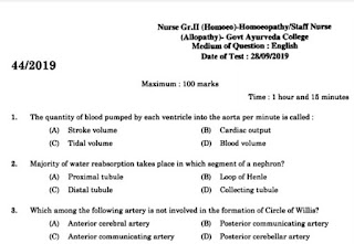 Kerala PSC Staff Nurse Question Paper 28/09/2019 with Answer Key