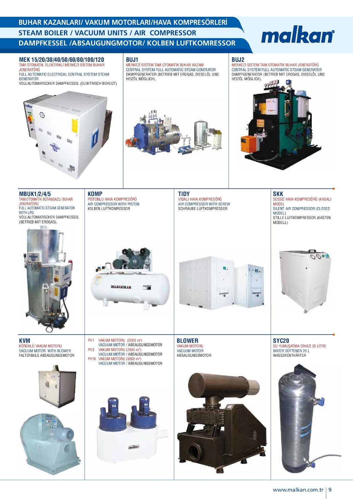 Nồi hơi, máy nén khí, hệ thống xử lý nước cứng