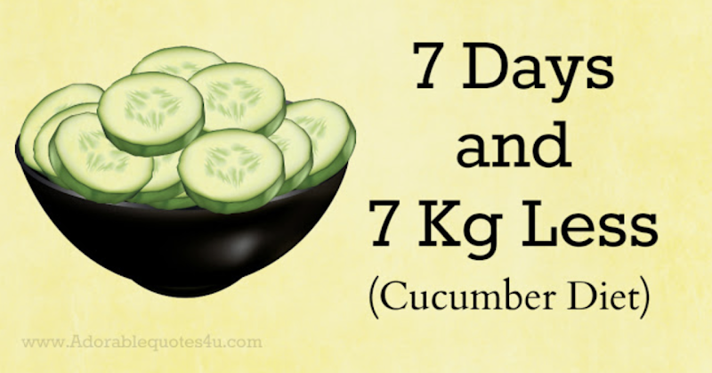 Cucumber Diet (7 days – 7 kg Less) Unbelievable!