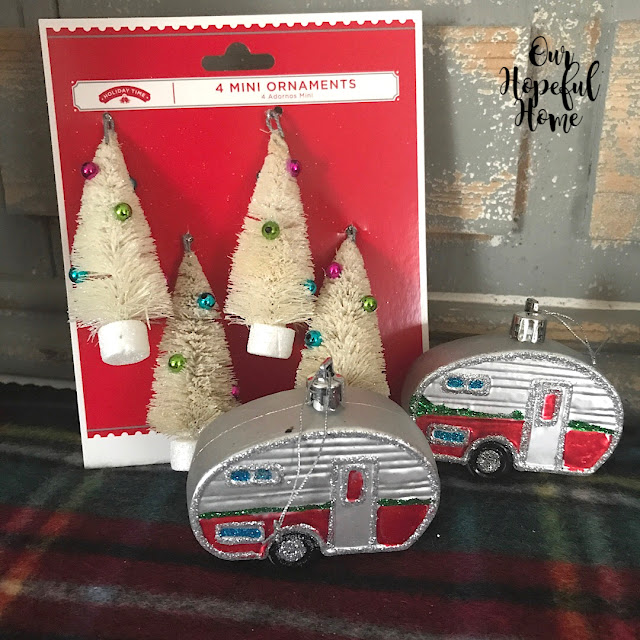 Dollar Tree retro Airstream camper Christmas ornaments white bottle brush trees
