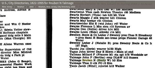 snippet of 1933 city directory newton nj Reuben Talmage Emily Talmage