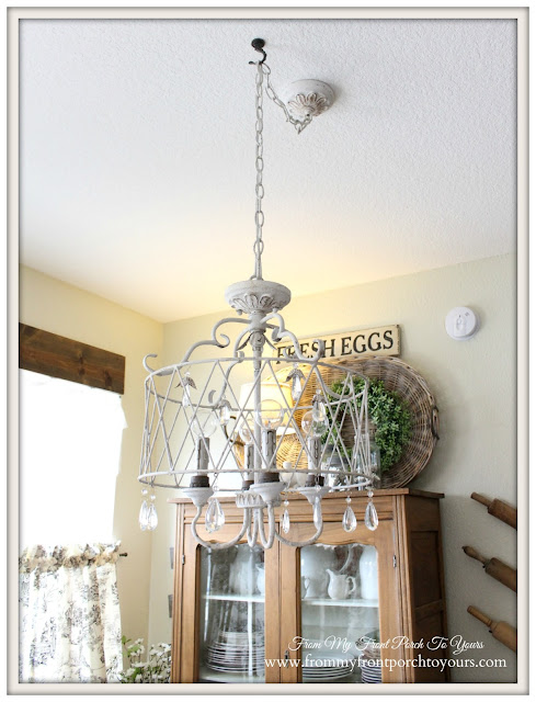 French Farmhouse- Breakfast Nook-French Chandelier-From My Front Porch To Yours