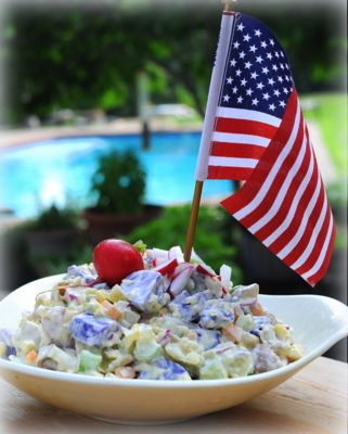 Red, White & Blue Potato Salad, another easy summer salad ♥ AVeggieVenture.com. Festive for Patriotic Holidays & Potlucks. Great Crunch. Relatively (For a Potato Salad) Low Carb & High Protein. Weight Watchers Friendly.