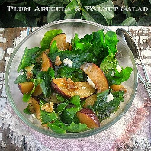 Plum Arugula and Walnut Salad ~ Delicious combination of sweet Plums, Arugula and crunchy Walnuts #Salad #PlumSalad