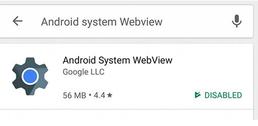 كيفية تعطيل Android System Webview