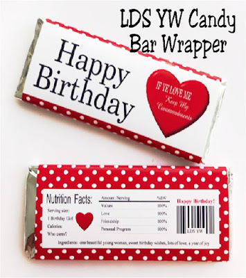 Wish the girls in your LDS Young Women group a happy birthday with these birthday candy bar wrappers. Wrappers feature the 2019 youth theme and are a great way to give the girls a card and a sweet treat in one.