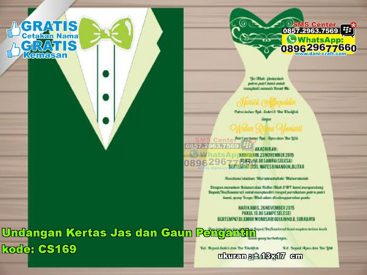 Undangan Kertas Jas Dan Gaun Pengantin  Souvenir Pernikahan