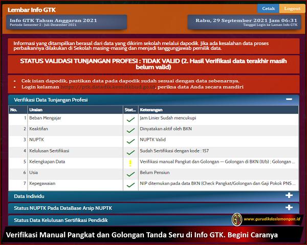 Verifikasi Manual Pangkat dan Golongan Tanda Seru di Info GTK. Begini Caranya