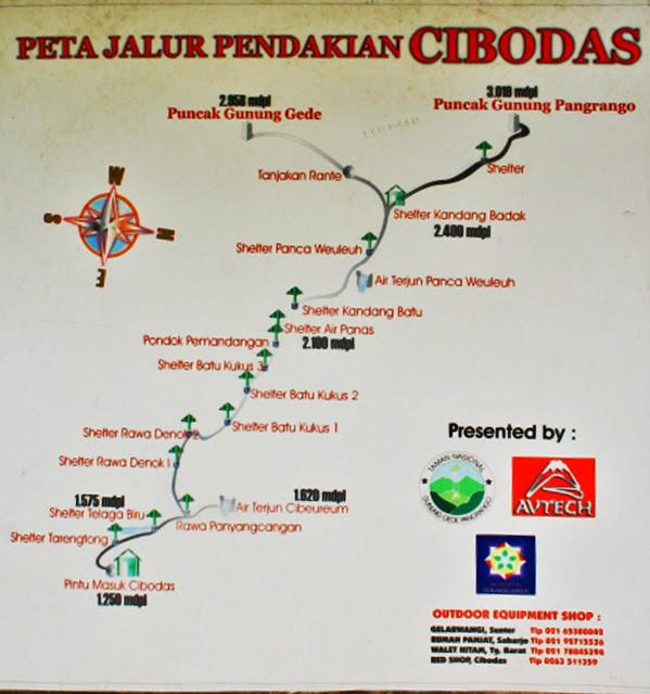 Peta Pendakian Gunung Pangrango via Cibodas