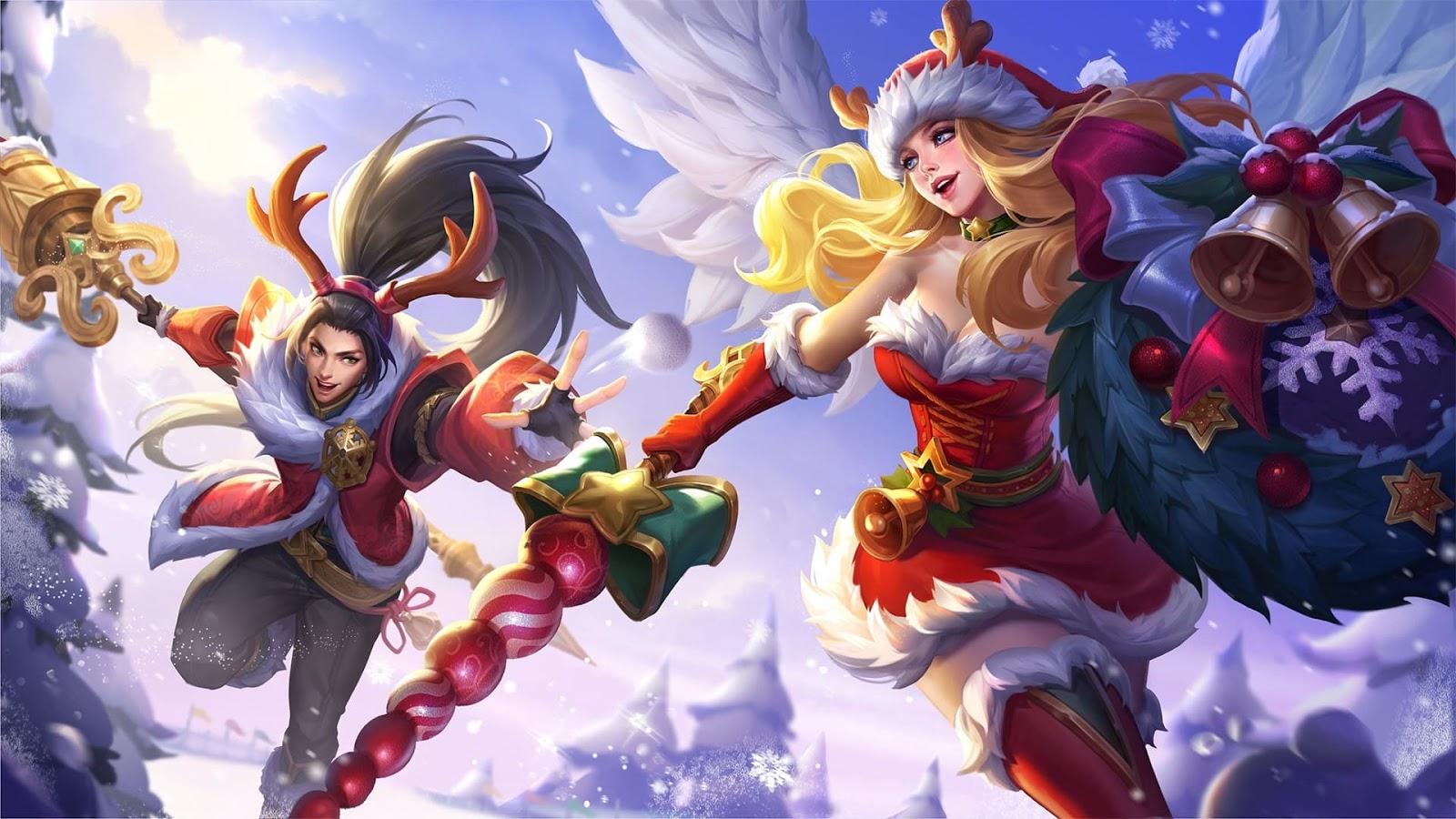 Wallpaper Zilong and Freya Christmas Carnival Skin Mobile Legends Full HD for PC