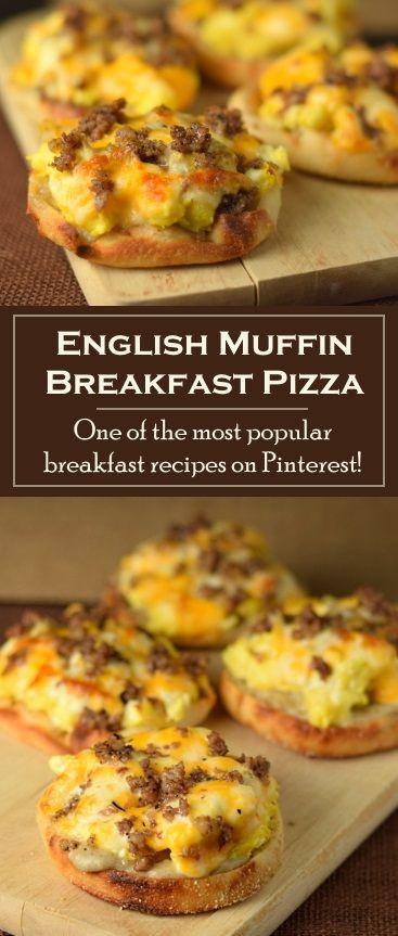 English Muffin Breakfast Pizza #breakfast #american #muffin #pizza