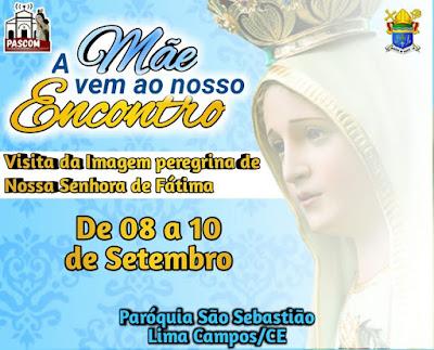 PROGRAMAÇÃO DA CHEGADA DA IMAGEM PEREGRINA DE NOSSA SENHORA DE FÁTIMA