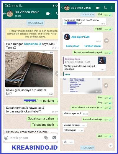 Grill Wudhu Stainless pesanan Bu Viesca untuk Wisma Millenia Jakarta Selatan
