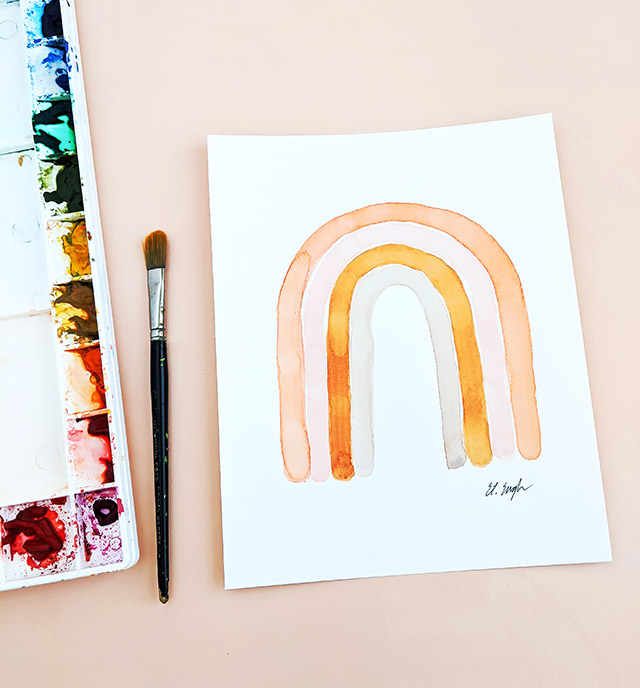 Create your own rainbow art with this free watercolor tutorial
