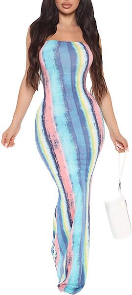 Strapless Tie Dye Maxi Dresses