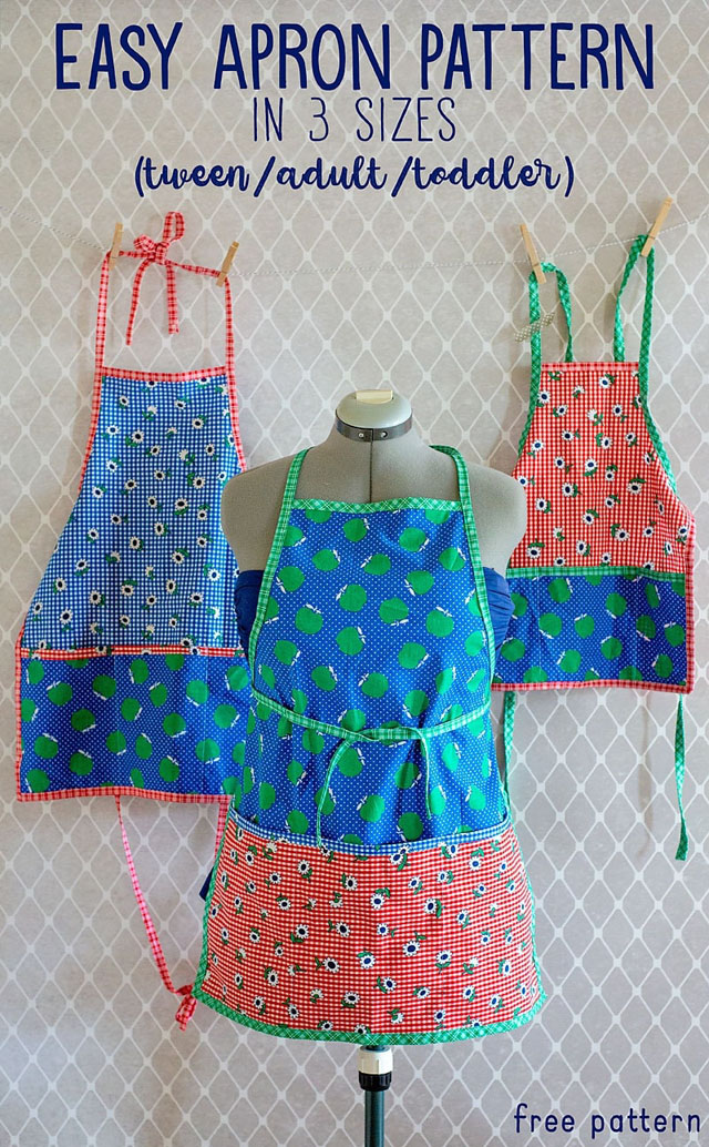 Learn how to sew aprons in three sizes. Tutorial by Scattered Thoughts of a Crafty Mom