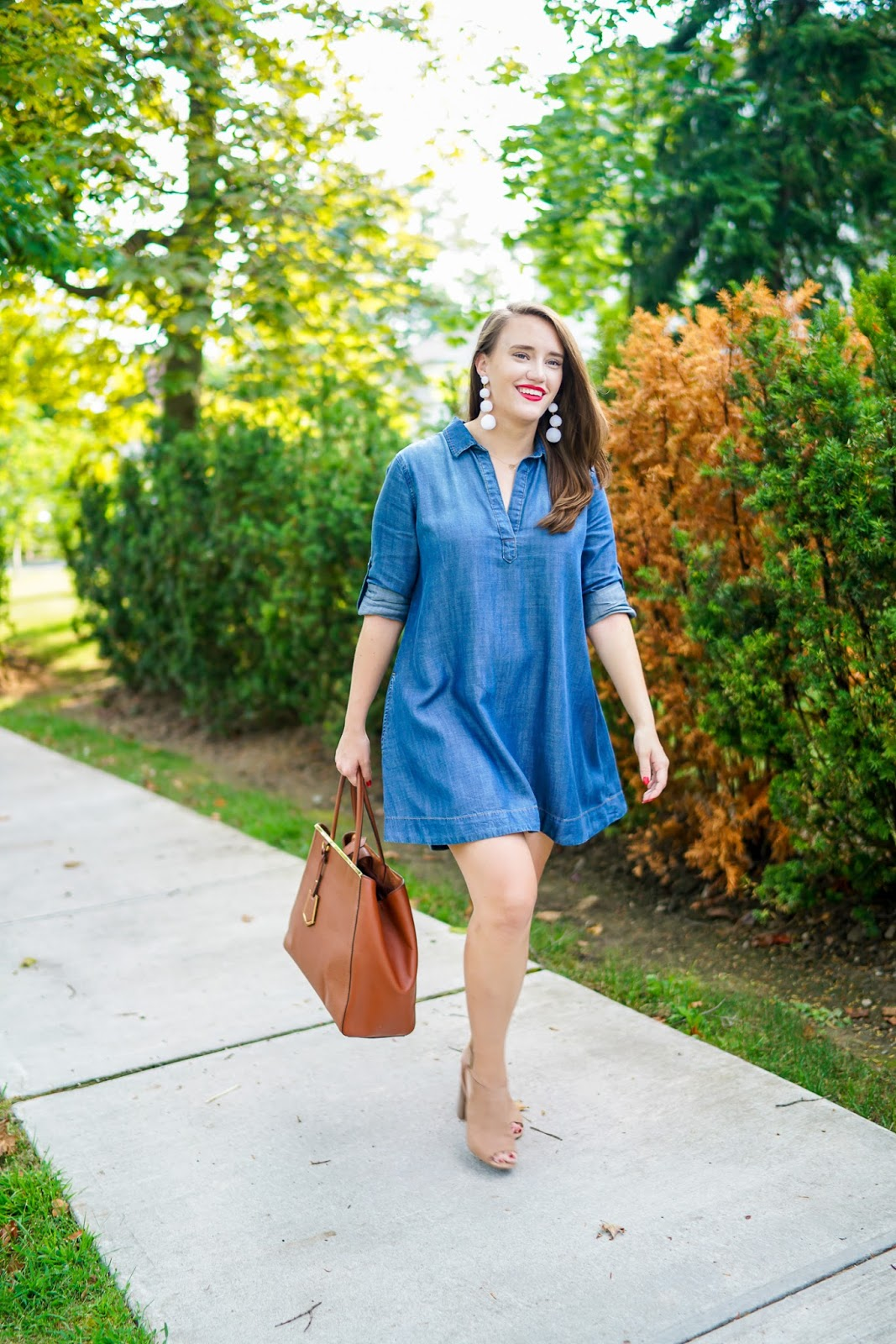 Side Stich Denim Shirtdress