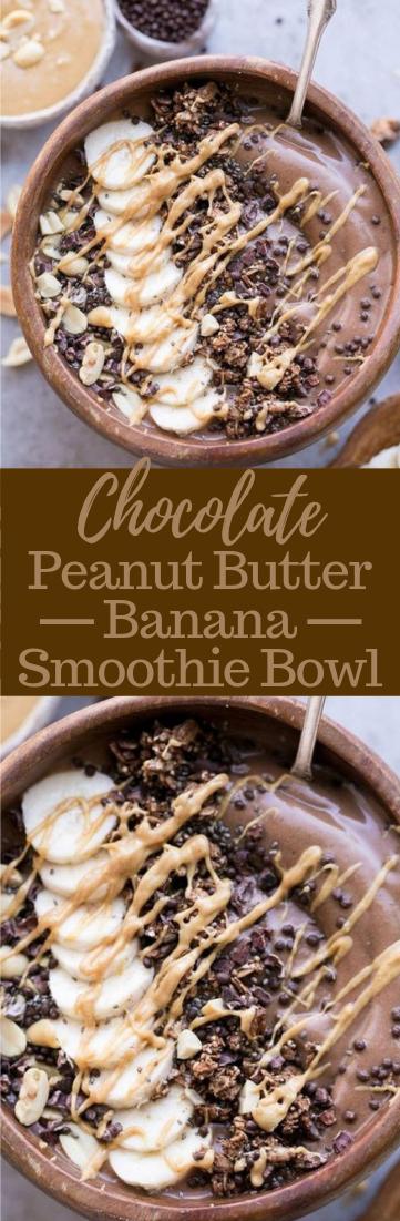 CHOCOLATE PEANUT BUTTER BANANA SMOOTHIE BOWL #healthydiet #diet