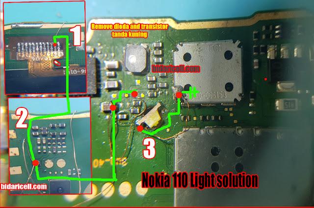 Nokia 110 rm 827 light solution - lampu lcd tidak menyala