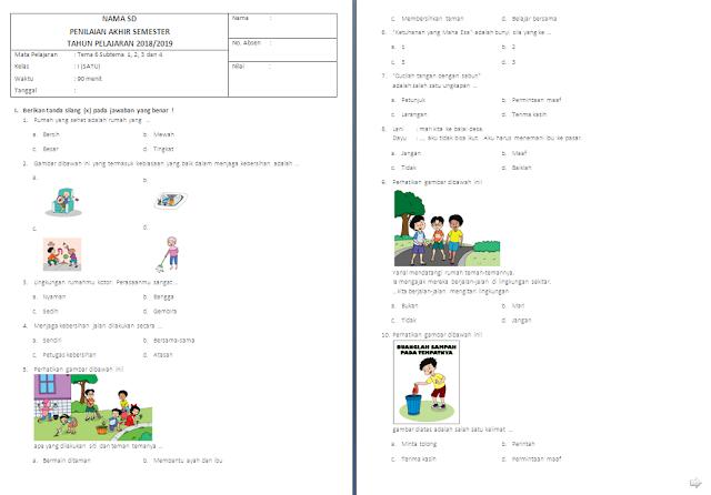 Soal Penilaian Akhir Semester (PAS) Kelas 1 SD/MI: Tema 6