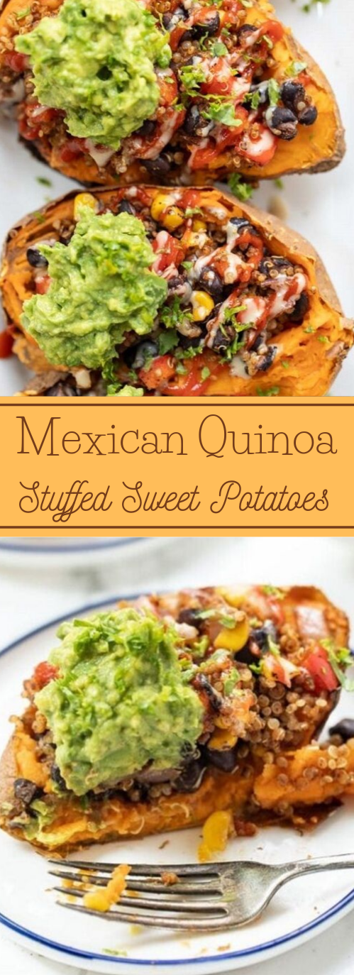 Mexican Quinoa Stuffed Sweet Potatoes #vegetarian #potato #food #breakfast #quinoa