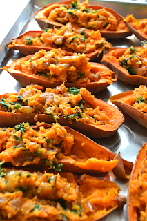 sweet potatoes with chard and kale