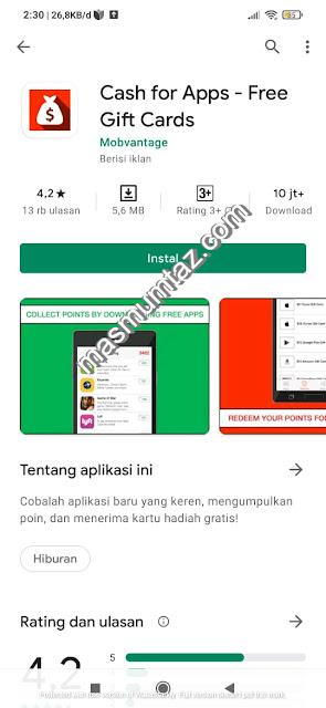 cara mendapatkan uang di cash for apps