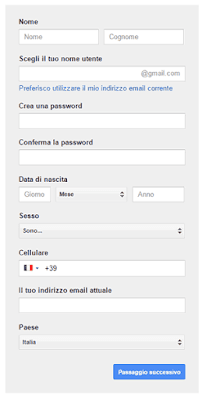 Form di registrazione a Google