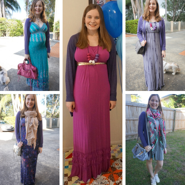 5 ways to wear purple cocoon cardigan with different dresses awayfromblue