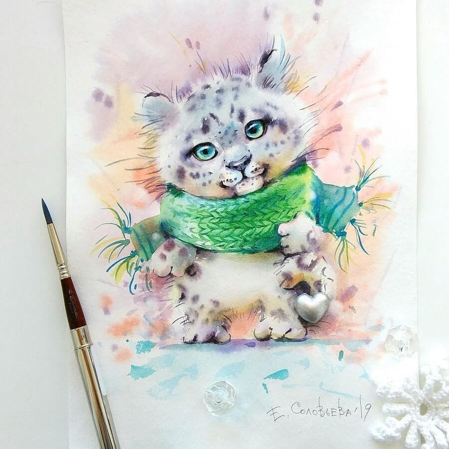 13-Snow-Leopard-Cub-Evgeniya-Solovyova-Fantasy-Animals-Watercolor-Paintings-www-designstack-co