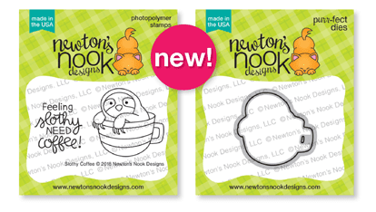 Slothy Coffee Stamp and Die Sets by Newton's Nook Designs #newtonsnook