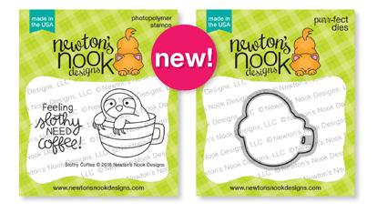 Slothy Coffee Stamp and Die Sets by Newton's Nook Designs #newtonsnook