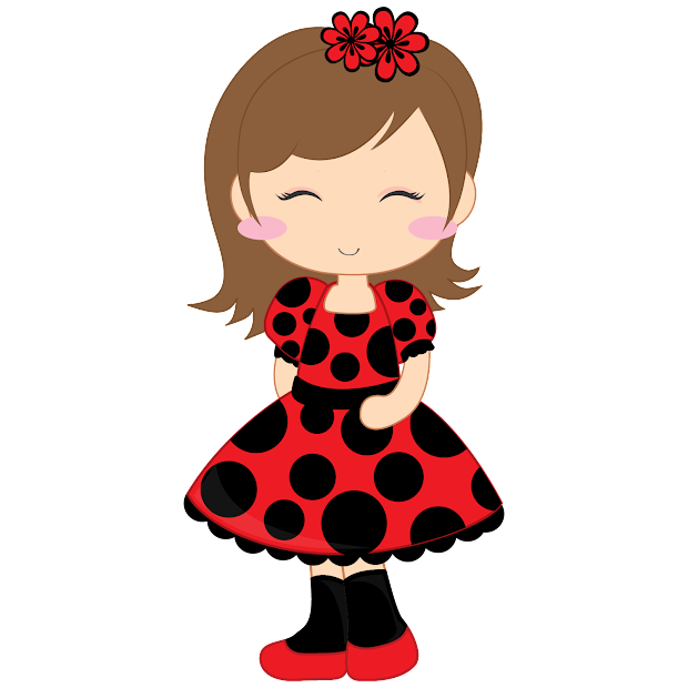 girl and ladybugs clip art