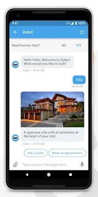 Screenshot Mobilisten Zoho Live Chat - Apcoid