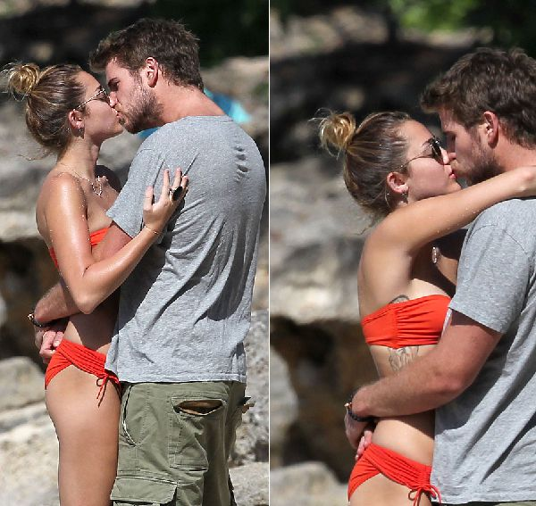 MILEY CYRUS LIP TO LIP KISSING LIAM HEMSWORTH HOT BIKINI PIC