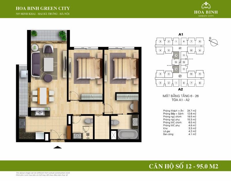 căn số 12 ( 95m2 ) chung cư Hòa Bình Green City