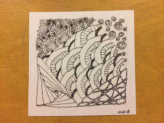 A Zentangle Diva's Challenge #373 done with non-dominant hand