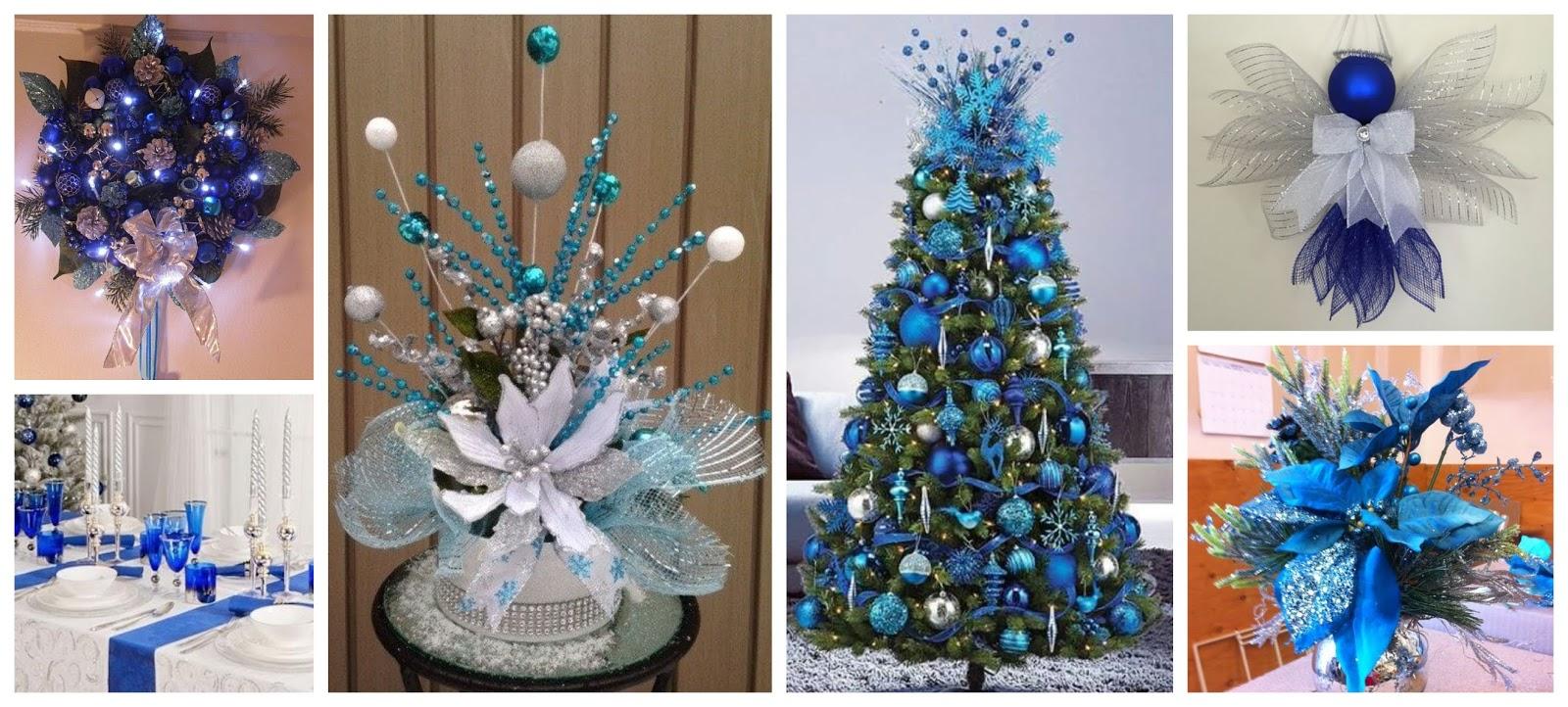 15 hermosas ideas para decorar en navidad con tonos azules for Ideas para decorar puertas navidenas